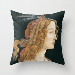 Sandro Botticelli, Idealized Portrait of a Lady, 1480 Throw Pillow