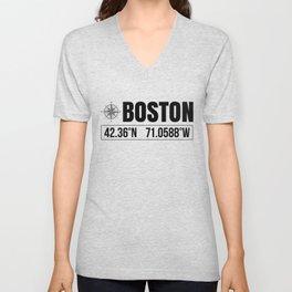 Boston City GPS Coordinates Souvenir USA Travel Gift Idea Unisex V-Neck