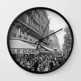 Le Dome Cafe, Paris - Hemingway's Favorite Haunt black and white photograph Wall Clock