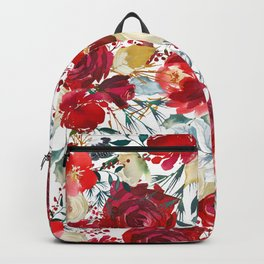 Red teal hand painted boho watercolor roses floral Backpack