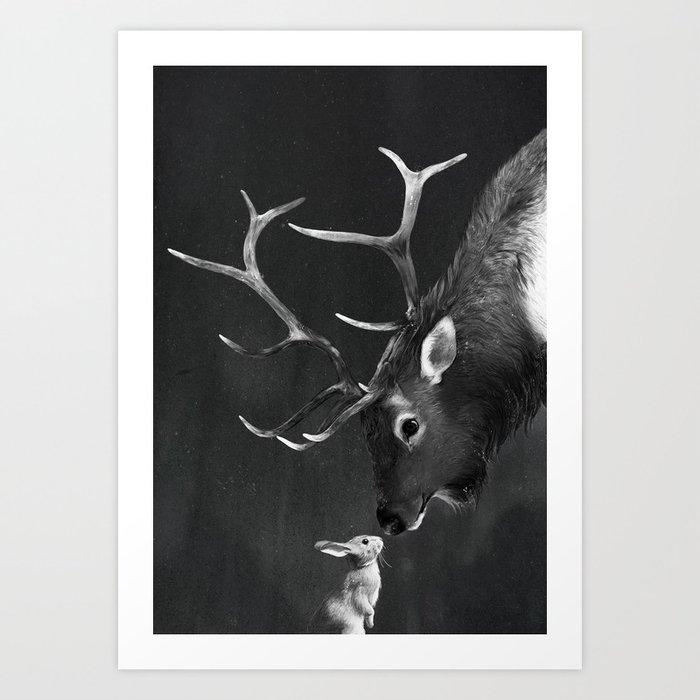 Elk and Rabbit Art Print