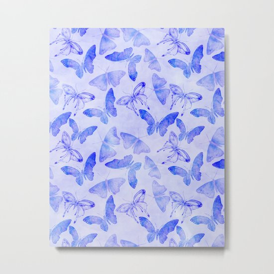 Purple Watercolor Butterfly Pattern Metal Print