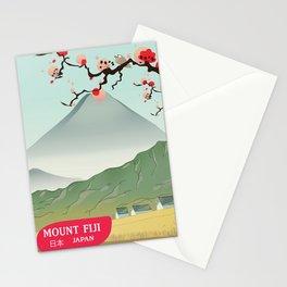 mount fiji Japan vintage travel prin Stationery Cards