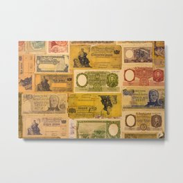 Numerous old banknotes of the Argentine Republic already out of circulation. Metal Print