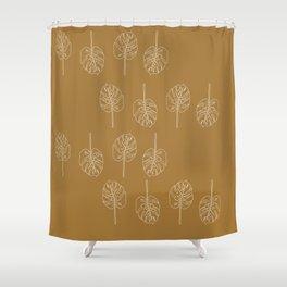 Minimal Mustard Monstera Pattern Shower Curtain
