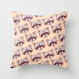 Happy raccoon Throw Pillow