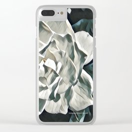 White Azalea Flower with Green Leaves Clear iPhone Case
