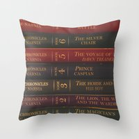 narnia Throw Pillows featuring A Narnia Journey by Shawn King