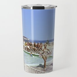 1950's Beauty Pageant by the Pool with 3 women in bathing suits and a bunch of men watching. Travel Mug