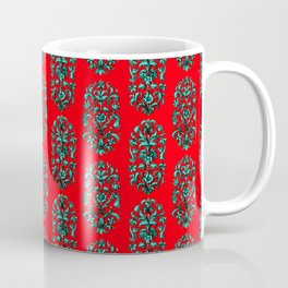 Baroque Flowers Pattern - Red Teal Coffee Mug