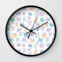 sloths Wall Clocks featuring Lazy Sloths Doodle - Pastel and Kawaii by KiraKiraDoodles