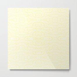 Wavy Lines - Tiled & Mirrored - Light Yellow Metal Print