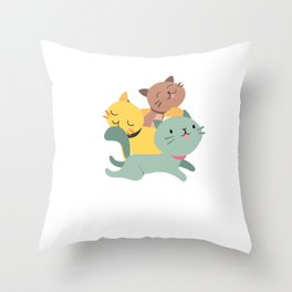 Adorable & Cute Purrramid Pyramid of Cats Kittens Throw Pillow