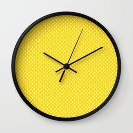 Tiny Paw Prints Pattern - Bright Yellow & White Wall Clock