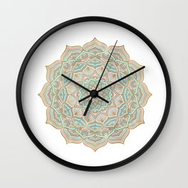 Mystic mandala - blue and gold Wall Clock