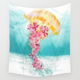 Jellyfish with Flowers Wall Tapestry