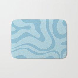 Light Aqua Blue Liquid Swirl Abstract Pattern Square Bath Mat