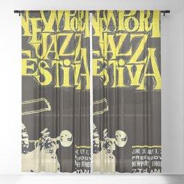 1960 Newport Jazz Festival Vintage Advertisement Poster Newport, Rhode Island Sheer Curtain