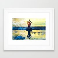 yoga Framed Art Prints featuring yoga by Chantale Roger