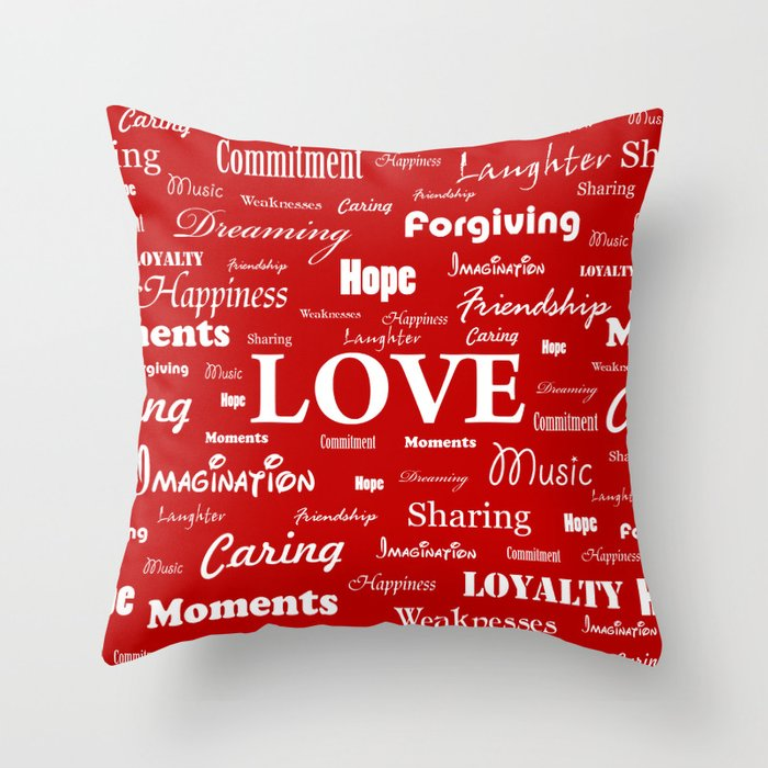 Love Is Red White Throw Pillow By Georgebarak Society6