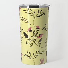 Rose Hummingbirds and Pink Flowers in Butter Yellow Floral Pattern with Pink Flowers and Bark Brown Travel Mug