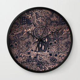 Boho rose gold dreamcatcher floral navy blue Wall Clock