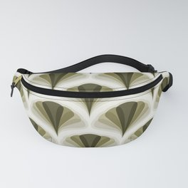 Olive Green and Ivory Retro Peacock Design Pattern Fanny Pack