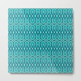 Ikat Teardrops in Teal and Turquoise Metal Print