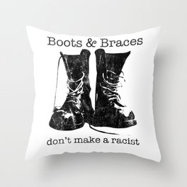 Boots & Braces graphic - Skinhead design - Anti-racist skins Throw Pillow