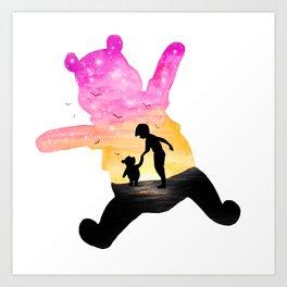 Winnie The Pooh Double Exposure Art Print