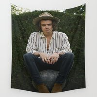 harry styles Wall Tapestries featuring Harry Styles by behindthenoise