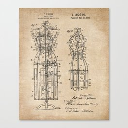 Vintage Dress Form Patent Drawing - Industrial Decor - Sewing - Vintage Design Canvas Print
