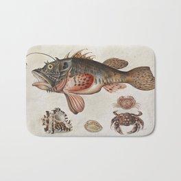 Vintage Fish and Crab Illustration by Maria Sibylla Merian, 1717 Bath Mat