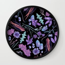 Purple flowers and jewels. Wall Clock