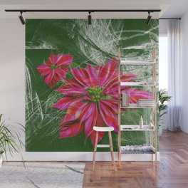 Abstract vibrant red poinsettia on green texture Wall Mural