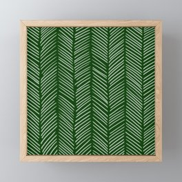 Forest Green Herringbone Framed Mini Art Print