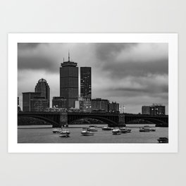 Boston Skyline Over The Longfellow Bridge and Charles River - Black and White Art Print