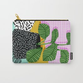 Decent - memphis retro neon throwback illustration pop art houseplant socal urban kids trendy art Carry-All Pouch