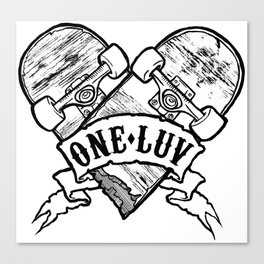 One Luv - Bored Heart - White Canvas Print