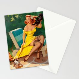 Pin Up Girl and Puppies Stationery Cards