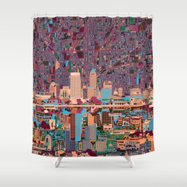 indianapolis city skyline purple Shower Curtain