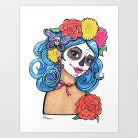 Dia de los Muertos: Sugar Skull Girl Art Print