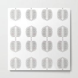 TROPICAL PALMS . GRAY + WHITE Metal Print