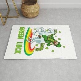 Leprechaun Rides A Unicorn On A Rainbow Rug