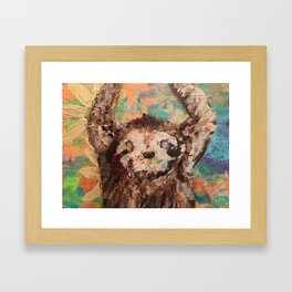 Deconstructed three-toed sloth hanging in a tree Framed Art Print