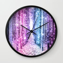 Magical Forest : Pastel Pink Lavender Aqua Periwinkle Ombre Wall Clock