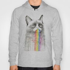 Grumpy Rainbow Cat Watercolor Animal Meme Geek Art Hoody
