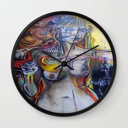 """Stigmata Puppets"".  - mixed media, original is stretched canvas 24' x 36"". Wall Clock"