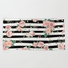 VINTAGE FLORAL ROSES BLACK AND WHITE STRIPES Beach Towel