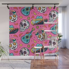 Day Of The Dead Guitar Skull Pink Pattern Wall Mural